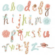 Unique vector flower font. Amazing hand drawn Alphabet. - Stock Vector