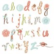 Unique vector flower font. Amazing hand drawn Alphabet. — Stock Vector