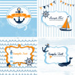 Set of 4 Nautical cards — 图库矢量图片
