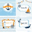 Set of 4 Nautical cards — Stock Vector #12866313