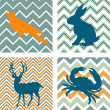 A set of 4 seamless retro patterns and 4 silhouettes of animals - Stok Vektör