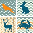 A set of 4 seamless retro patterns and 4 silhouettes of animals — Stock Vector