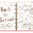 Back to school, notebook with doodles - Stock Vector