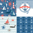 Stock Vector: A set of 4 unique nautical backgrounds. Blue, Red and White seamless patterns