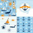 A set of 4 nautical backgrounds, blue, red and white seamless patterns — Stockvektor