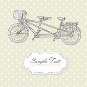 Tandem Bicycle Wedding Invitation with polka dot background — Vecteur