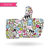 Like sign made with social media icons — Stock Vector