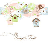 Beautiful Floral background with bird houses, birds and flowers — ストックベクタ