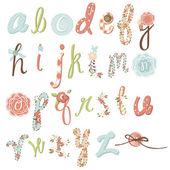 Benzersiz vektör çiçek font. şaşırtıcı elle çizilmiş alfabesi. — Stok Vektör