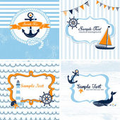 Set of 4 Nautical cards — Stock Vector
