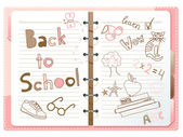 Back to school, notebook with doodles — Cтоковый вектор