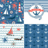A set of 4 unique nautical backgrounds. Blue, Red and White seamless patterns — Vecteur