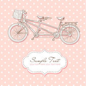 Tandem Bicycle Wedding Invitation with polka dot background — Stock Vector