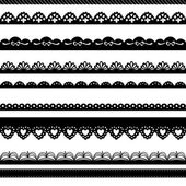 Insieme di bordi di pizzo disegnati a mano carta punzone — Vettoriale Stock