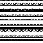 çizilmiş bir dantel kağıt yumruk kenarlık kümesi — Stok Vektör