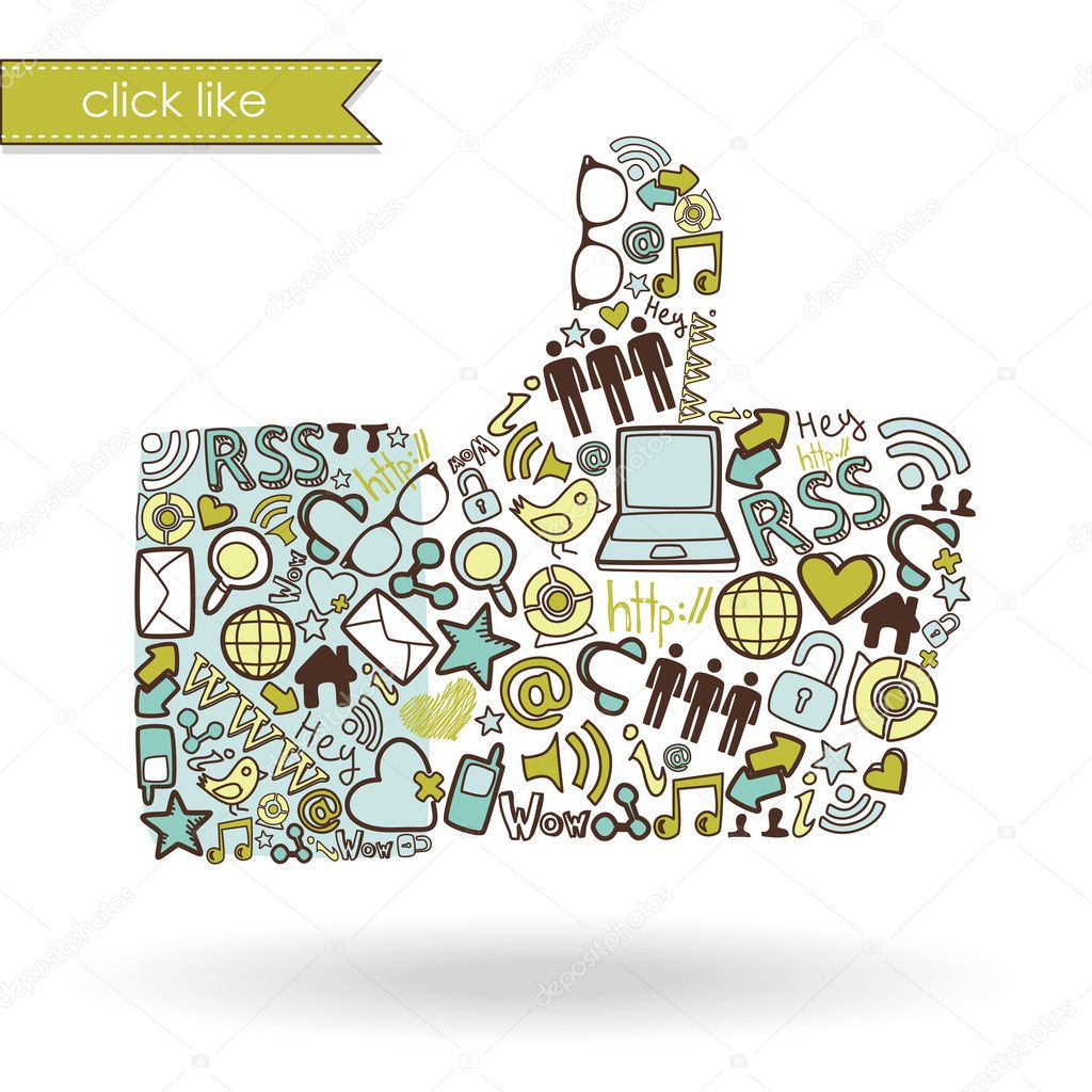 Like sign made with social media icons  — Stock Vector #12860714