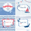 Set of 4 Nautical cards — Stock Vector #12871197