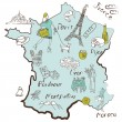 Stylized map of France — Stockvector #12871890