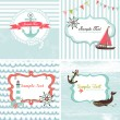 Stok Vektör: Set of 4 Nautical cards