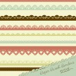 Stock Vector: Set of hand-drawn Lace Paper Punch Borders