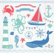 Decorative Nautical and Sea Set,maritime illustrations — Stock Vector #12872721
