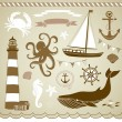 Stock Vector: Decorative Nautical and Sea Set,maritime illustrations