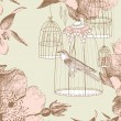 Vintage card with a bird in the cage — Vector de stock  #12872820