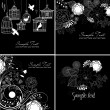Stylish floral background in black and white colors — Stok Vektör