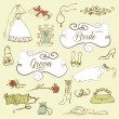 Wedding set of cute glamorous doodles and frames — Stock Vector