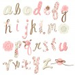 Unique vector flower font. Amazing hand drawn Alphabet. — Stock vektor