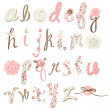 Unique vector flower font. Amazing hand drawn Alphabet. — Vector de stock