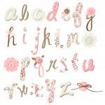 benzersiz vektör çiçek font. şaşırtıcı elle çizilmiş alfabesi — Stok Vektör