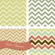 Stock Vector: A set of seamless retro zig zag patterns