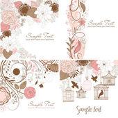 σύνολο floral ευχετήριες κάρτες σε στυλ ρετρό — Διανυσματικό Αρχείο