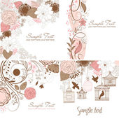 Jeu de cartes de voeux florales dans le style rétro — Vecteur