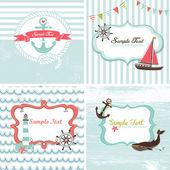 Conjunto de 4 cartas náuticas — Vector de stock