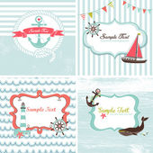 Set of 4 Nautical cards — Stok Vektör