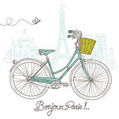 Riding a bike in style, Romantic postcard from Paris — Stock Vector