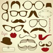 Retro parti ayarla - güneş gözlüğü, dudaklar, bıyık — Stok Vektör