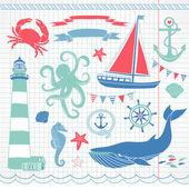 Decorative Nautical and Sea Set,maritime illustrations — Stock Vector