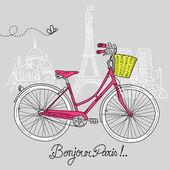 Montar una bicicleta de estilo, romántica postal de parís — Vector de stock