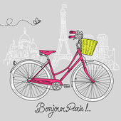 Riding a bike in style, Romantic postcard from Paris — Vecteur