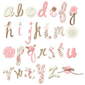 Wektor kwiat czcionki. niesamowite ręcznie rysowane alfabet. — Wektor stockowy