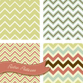 A set of seamless retro zig zag patterns — Stock Vector