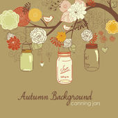 Floral Autumn background. Glass jars hanging from the brunch — Stock Vector