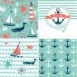 A set of 4 nautical backgrounds, blue, red and white seamless patterns — Stock Vector #12892557