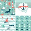 Stock Vector: A set of 4 nautical backgrounds, blue, red and white seamless patterns
