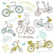 Vintage bicycle set and a beautiful girl riding a bike — Stock Vector