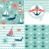 A set of 4 nautical backgrounds, blue, red and white seamless patterns — Stock Vector
