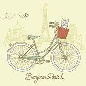 Reiten ein motorrad im stil, romantische postkarte aus paris — Stockvektor